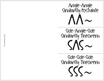 Proving Triangles Similar- Geometry Foldable