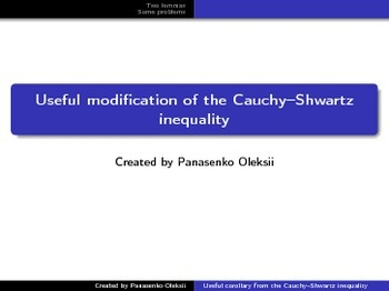 Proving inequalities. Useful modification of the Cauchy-Sh