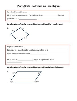 Proving that a Quadrilateral is a Parallelogram Guided Notes