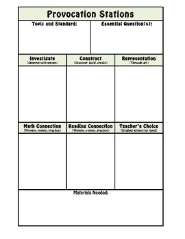 Provocation Station Planning Template