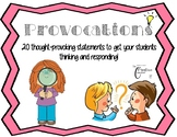 Provocations Questions Wonderings for Responding Thinking Communicating