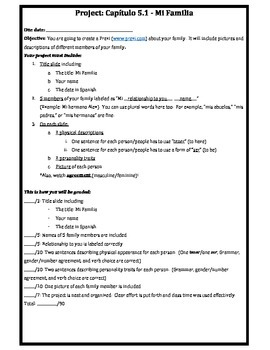 Proyecto - Exprésate 1 Capítulo 5.1 - Mi Familia (Project)