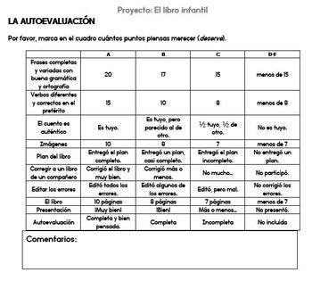 Proyecto: Libro infantil, Spanish preterite project