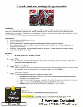 Mexico Culture Research Project - Intermediate and Advanced Spanish