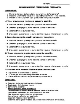 Proyecto Persuasivo- Create a persuasive project in Spanish