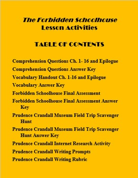 Prudence Crandall The Forbidden Schoolhouse Lesson Activities