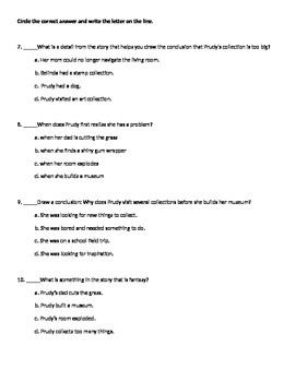 Prudy's Problem Reading Street Common Core Comprehension Test 3