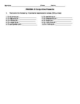 Prueba: El Subjunctivo-Verbos con Cambios Radicales y Expresiones Impersonales