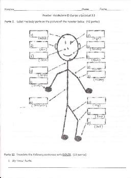 Prueba: El Vocabulario U3E3 En Espanol II-La Salud y El Cuerpo