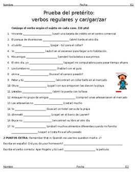 Prueba El pretérito regular - Spanish Preterite Quiz - Regular verbs