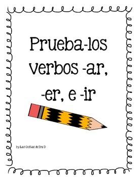 Prueba ar er and ir verbs Quiz in Spanish