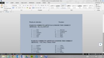 Prueba de Articulos (Quiz on the Spanish articles)