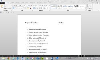 Prueba de Familia (Quiz on Family)
