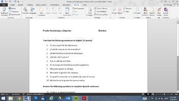 Prueba de Deportes y Pasatiempos (Sports and Pastimes Quiz)