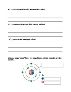 Prueba de la energía y la materia- Energy and Matter Quiz in Spanish