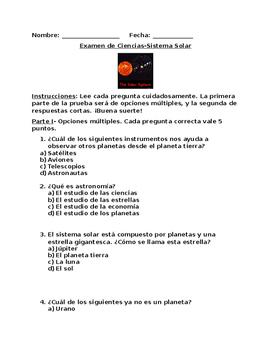 Prueba del sistema solar en español (Solar System Quiz in Spanish)