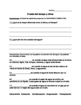 Prueba del tiempo y clima/ Weather and Climate Test (Spanish)