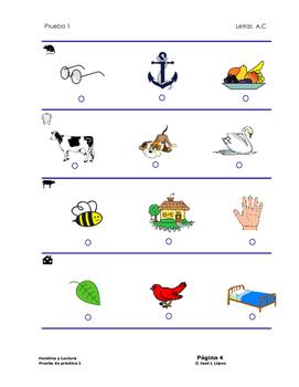 Prueba diagnóstica  de la fonética y lectura  (letras A y C).