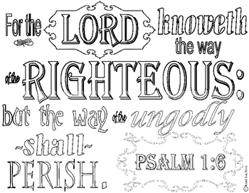 Psalm 1 6 Coloring Page By Rachael Redd Teachers Pay
