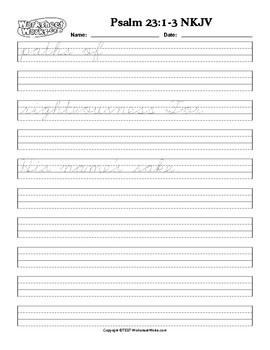 Psalm 23:1-3 NKJV Cursive Handwriting and Copywork practice