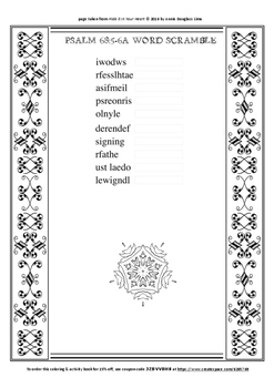 Psalm 68:5-6a Coloring Page and Word Puzzles