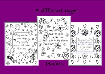 Psalms Bible Verse Coloring Pages Set of 3