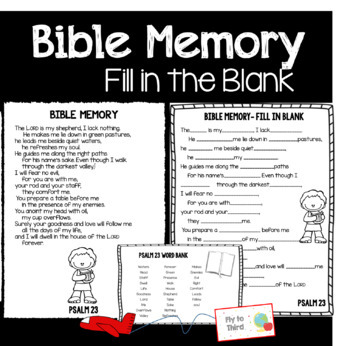 Psalms Memory Verses, activities, and assessments