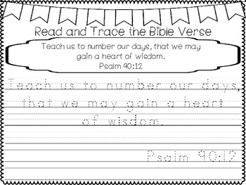 Psalms for Kids-Psalm 90:12 Bible Verse Tracing and Coloring Worksheets