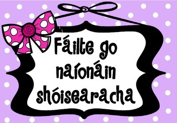 Póstaeir fáilte - gach rang - bándearg (Welcome posters in Irish/as Gaeilge)