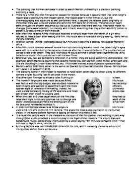 Psycho (1960): Trivia, Notes Viewing Activity, Quiz, Teacher Answers