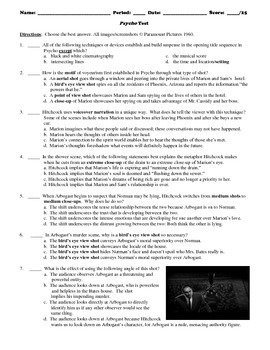 Psycho Film (1960) 25-Question Multiple Choice Quiz/Test