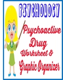 Psychoactive drug worksheet graphic organizer chart  quesitons  psychology