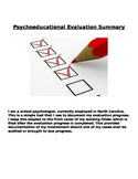 Psychoeducational Evaluation Summary in School Setting