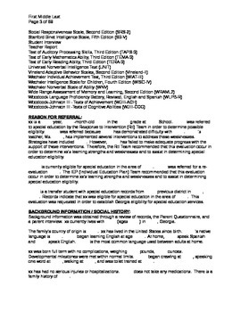 Psychoeducational Report Shell Template