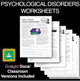Psychological Disorder Worksheets