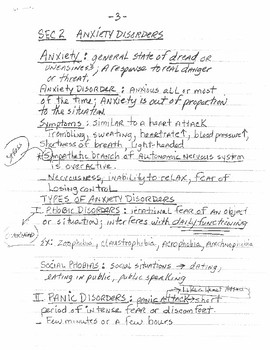 Psychological Disorders Lecture Notes