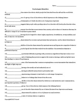 Psychological Disorders Quiz or Worksheet for Psychology