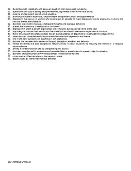 Psychological Disorders Vocabulary Crossword For Psychology