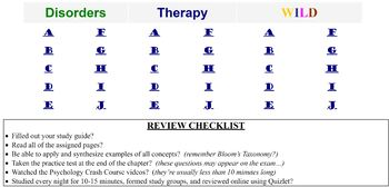 Psychological Disorders and Therapy Review Game for Psychology