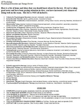 Psychological Disorders and Therapy Review Sheet
