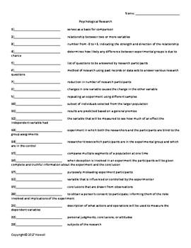 Psychological Research Quiz or Worksheet for Psychology