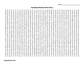 Psychological Research Vocabulary Word Search for Psychology