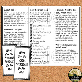 Psychologist or Student Advocate Open House/ Back to School Editable Brochure