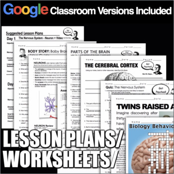 Psychology: Biology & Behavior Entire Unit Bundled: PPTs, Worksheets, Plans+Test