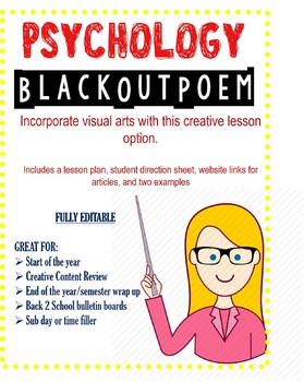 Psychology Blackout Poem Activity Lesson Plan & Examples