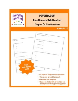 Psychology Chapter Review Questions Emotion and Motivation