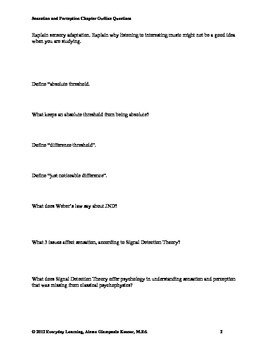Psychology Chapter Review Questions Sensation Perception