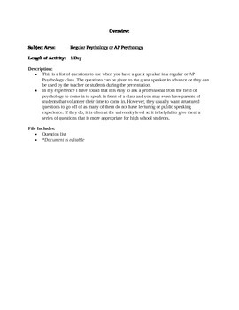 Psychology Class Guest Speaker Questions