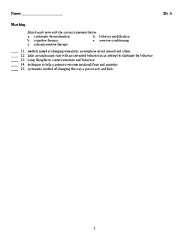Psychology - Cognitive and Behavior Therapies (Quiz or Study Guide)