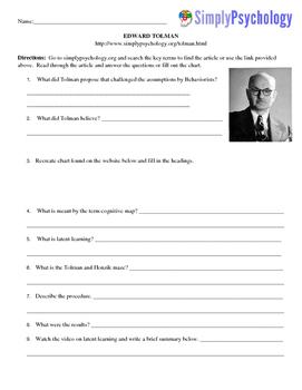 Psychology Computer/Internet Assignment Edward Tolman